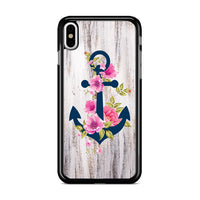 Navy Blue Anchor X Flowers X Wood Design iPhone XS Case