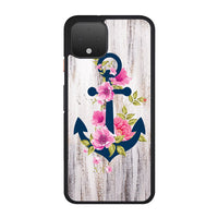 Navy Blue Anchor X Flowers X Wood Design Google Pixel 4 XL Case