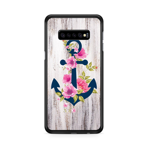 Navy Blue Anchor X Flowers X Wood Design Samsung Galaxy S10 Plus Case