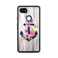 Navy Blue Anchor X Flowers X Wood Design Google Pixel 2 XL Case