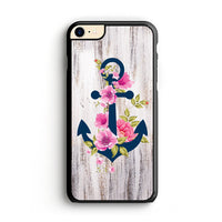 Navy Blue Anchor X Flowers X Wood Design iPhone 7 Case