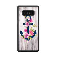 Navy Blue Anchor X Flowers X Wood Design Samsung Galaxy Note 8 Case