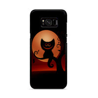 Black Cat Smiley Moonlight_ Samsung Galaxy S8 Plus Case