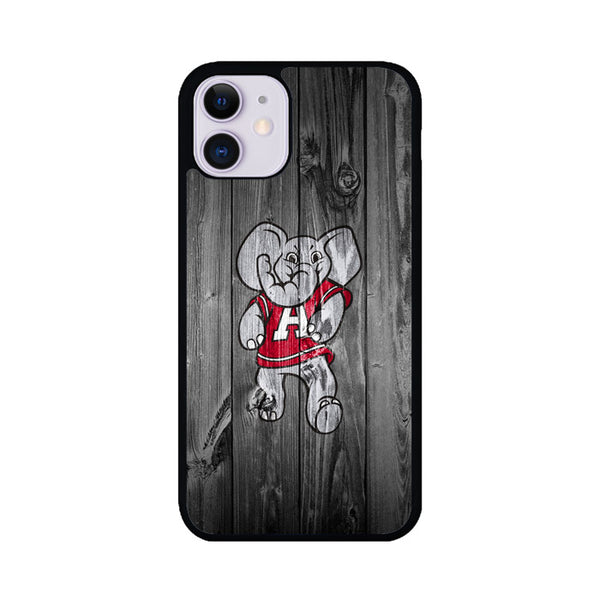 Alabama Crimson Tide Elephant Logo Dark Wood Wallpaper iPhone 11 Case