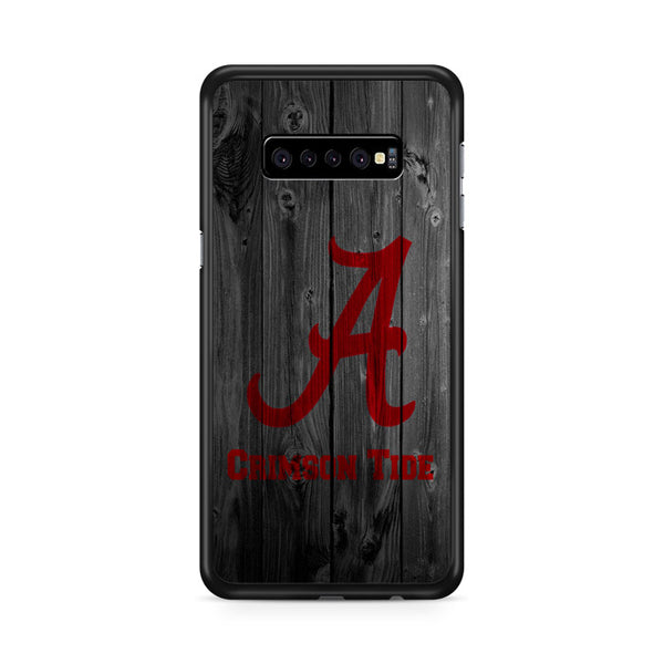 Alabama Crimson Tide Nfl Logo Dark Wood Wallpaper Samsung Galaxy S10 Plus Case
