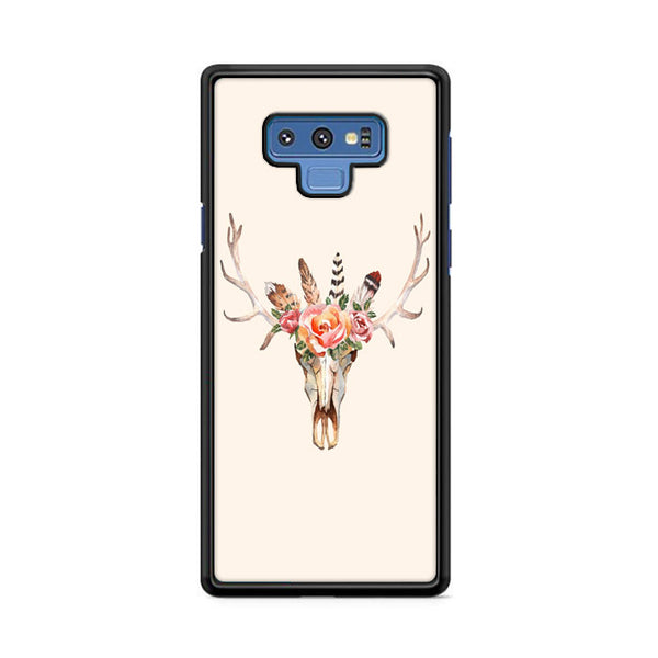 Skull Antler Feather And Flower Samsung Galaxy Note 9 Case