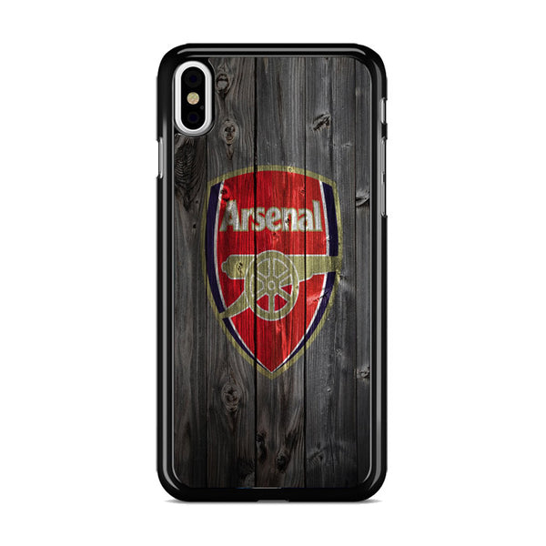 Arsenal Soccer Logo Dark Wood Wallpaper iPhone XS Max Case
