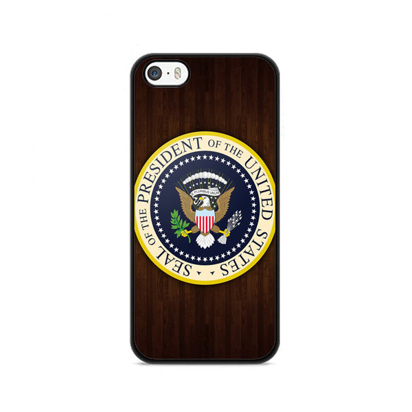 Shield United States President Wood Logo iPhone 5|5S|SE Case
