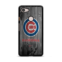 Chicago Cubs Baseball Logo Dark Wood Wallpaper Google Pixel 3 XL Case