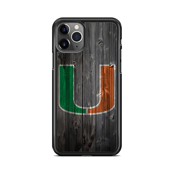Miami Hurricanes NFL Logo Dark Wood Wallpaper iPhone 11 Pro Case