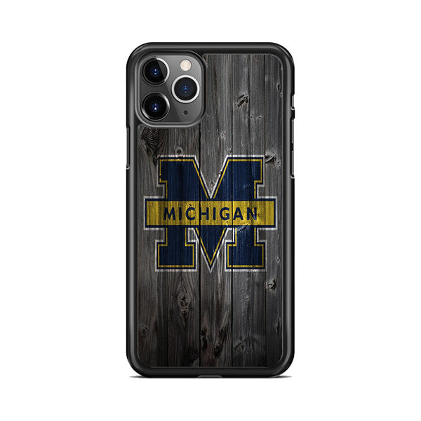 Michigan Wolverines University Logo Dark Wood Wallpaper iPhone 11 Pro Case