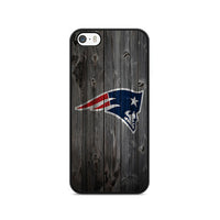 New England Patriots NFL Logo Dark Wood Wallpaper iPhone 5|5S|SE Case