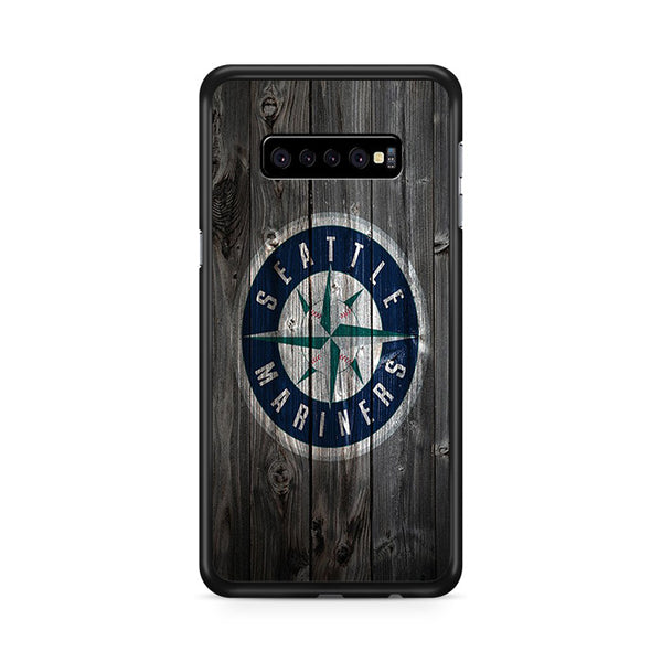 Seattle Mariners MLB Logo Dark Wood Wallpaper Samsung Galaxy S10e Case