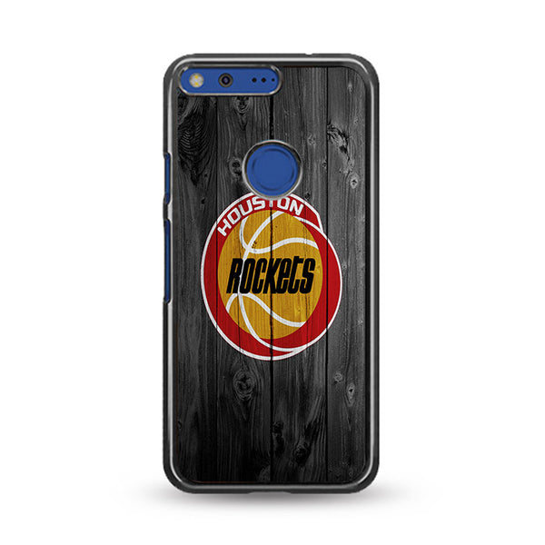 Old Houston Rockets NBA Logo Dark Wood Wallpaper Google Pixel XL Case