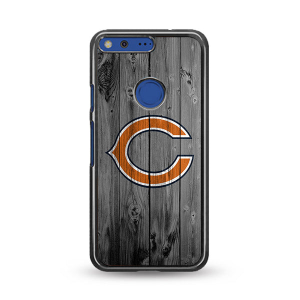 New Chicago Bears NFL Logo Dark Wood Wallpaper Google Pixel XL Case