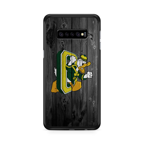 Oregon Ducks University NFL Logo Dark Wood Wallpaper 2 Samsung Galaxy S10e Case