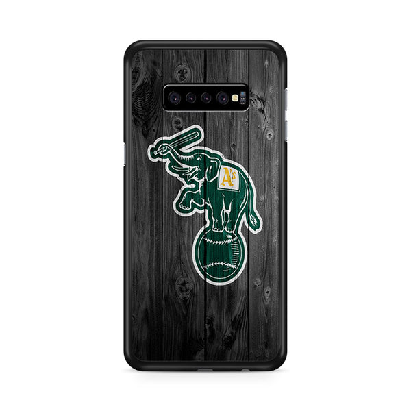 Oakland Athletics MLB Logo Dark Wood Wallpaper Samsung Galaxy S10e Case