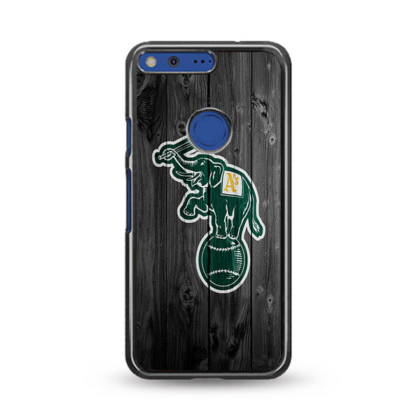 Oakland Athletics MLB Logo Dark Wood Wallpaper Google Pixel XL Case