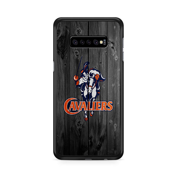 University Of Virginia Cavaliers Logo Dark Wood Wallpaper Samsung Galaxy S10 Plus Case