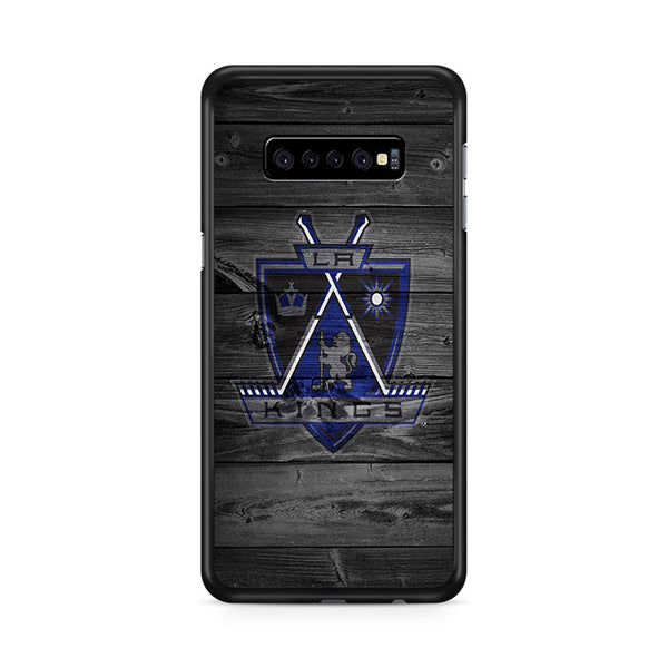 Los Angeles Kings NHL Logo Dark Wood Wallpaper Samsung Galaxy S10e Case