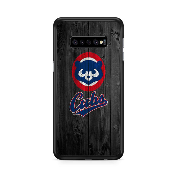 Old Chicago Cubs Bear MLB Logo Dark Wood Wallpaper Samsung Galaxy S10e Case