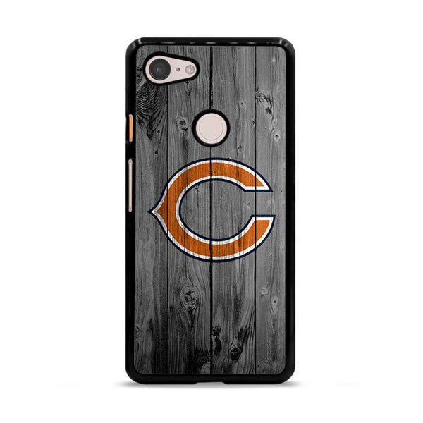 New Chicago Bears NFL Logo Dark Wood Wallpaper Google Pixel 3 XL Case
