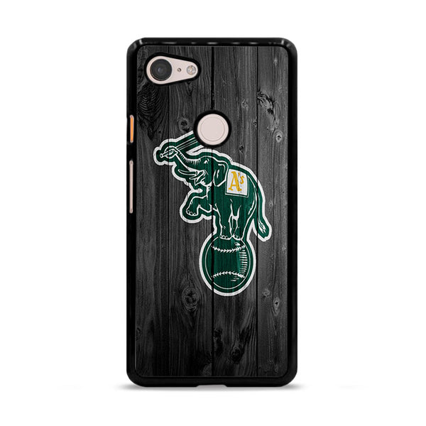 Oakland Athletics MLB Logo Dark Wood Wallpaper Google Pixel 3 XL Case