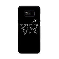 Map Travel Earth Abstract Art Line Drawing Aesthetics Samsung Galaxy S8 Case