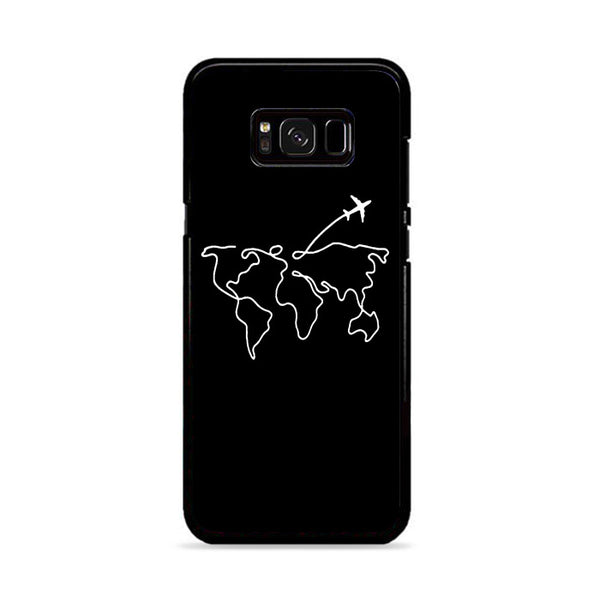 Map Travel Earth Abstract Art Line Drawing Aesthetics Samsung Galaxy S8 Plus Case