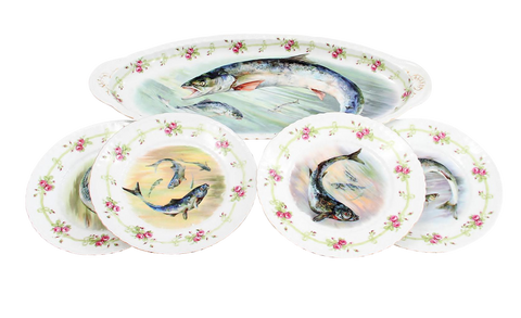 Victoria Austria Porcelain Fish Platter and Dish Set