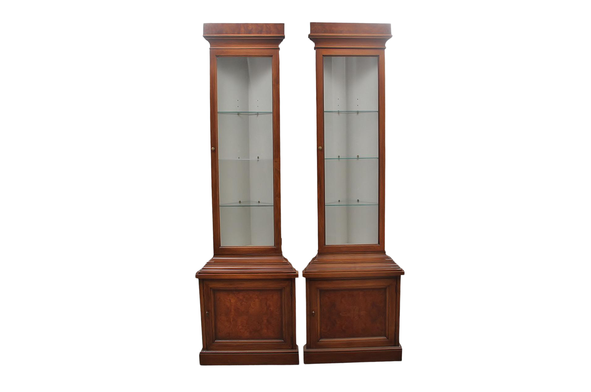 1960s Drexel Lighted Corner Cabinets