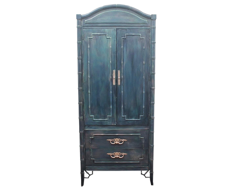 Vintage Boho Chic Faux Bamboo Cabinet
