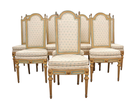 1970s French Louis XVI Style Dining Chairs - 8 Pieces