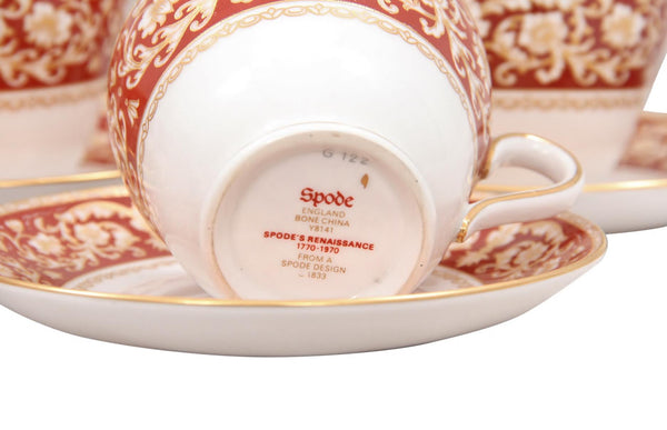 1970s Spode English Bone China Tea Cup and Saucer - Set of 11