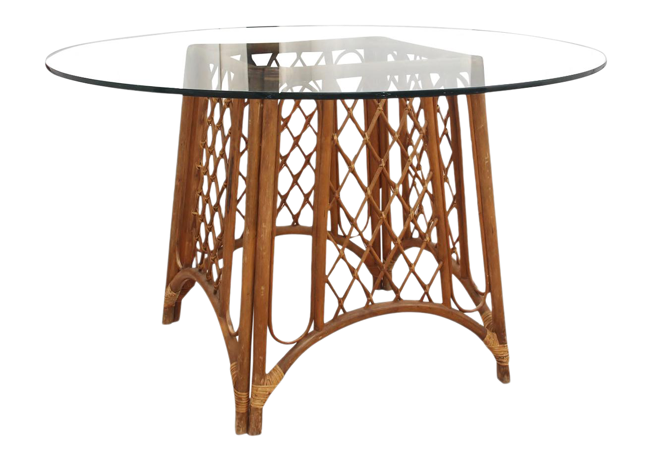 Vintage Bamboo and Glass Pedestal Dining Table
