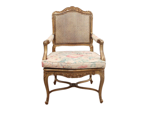 Vintage French Style Cane Armchair