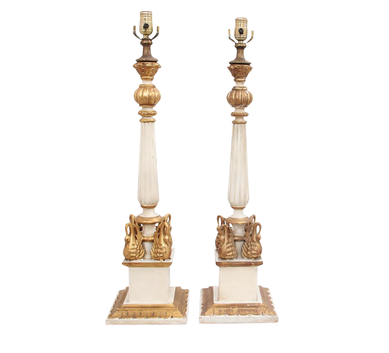 French Swan Column Lamps - a Pair