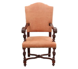19th Century Leather Throne Chair