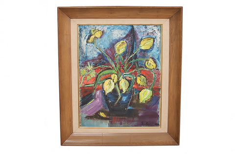 "1960s Signed ""Tulip"" Still Life Oil on Board Painting"