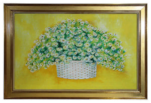 "1960's ""Summer Daisies"" Oil Painting"