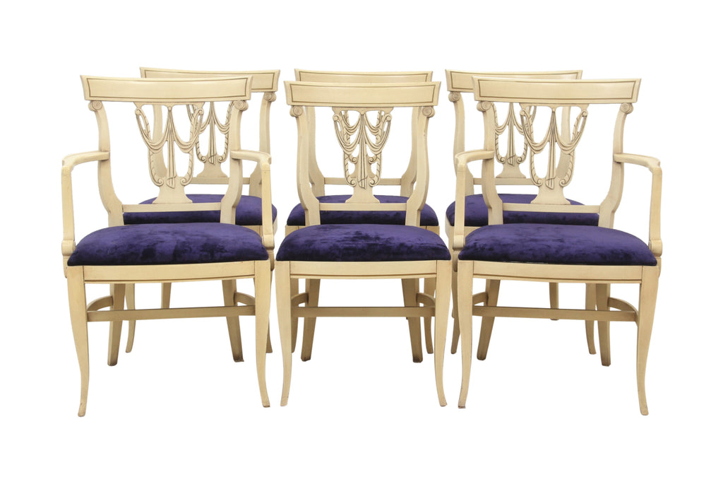Sheraton Style Royal Purple Dining Chairs, Set Of 6
