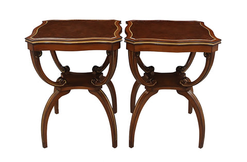 Regency Style Leather Topped Side Tables 1