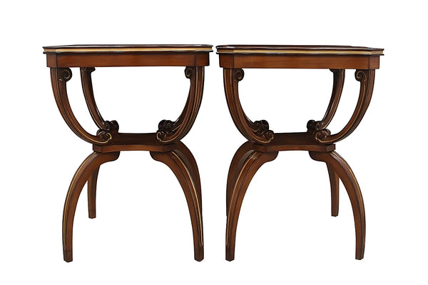 Regency Style Leather Topped Side Tables 2
