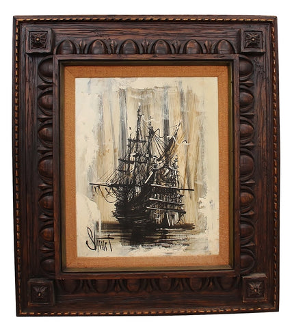 Mid-Century Ship Painting on Canvas 1