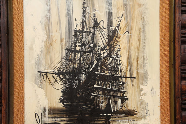 Mid-Century Ship Painting on Canvas 3