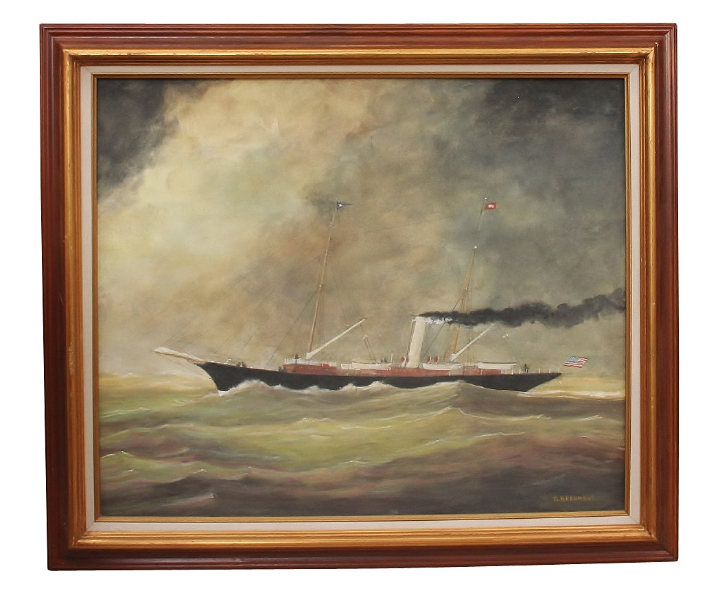 Oil on Canvas Steamboat Painting, Signed