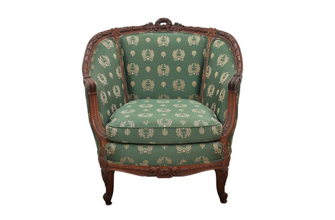 Vintage Green Silk French Provencial Marquis Chair