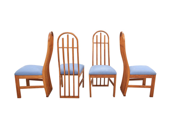 Mid Century Slatted Sculptural Dining Chairs- Set of 4