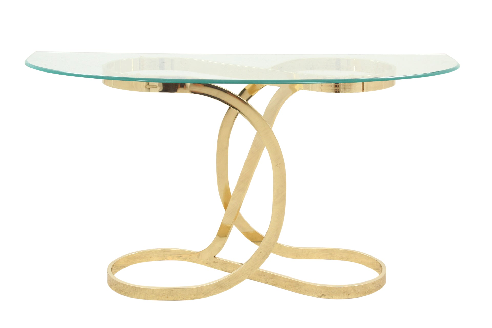 1970's Brass & Glass Console Table