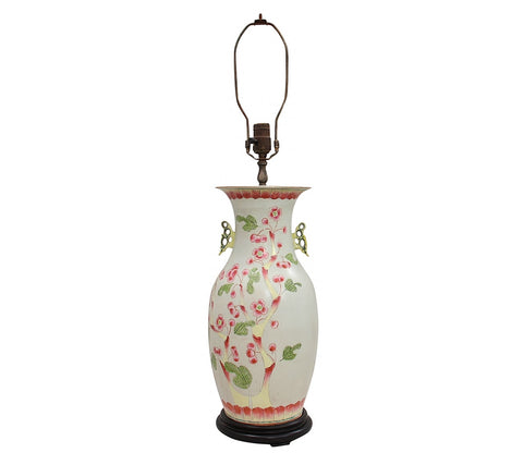 19th Century Porcelain Chinoiserie Lamp With a Wooden Base